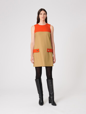 Wool dress - Camel / cornaline