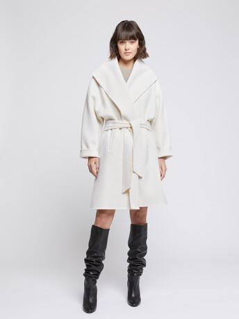 Manteau peignoir en laine et cachemire - Blanc casse