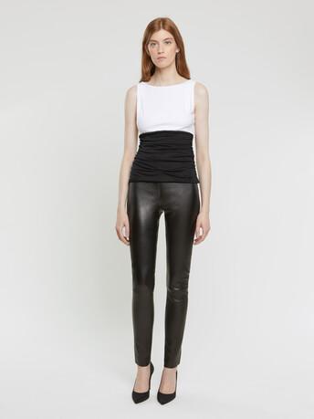 Top en jersey de coton stretch - Blanc / noir