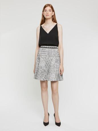 Black, white and silver tweed skirt - Noir / blanc