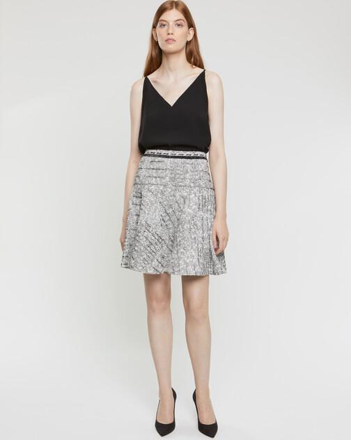 Jupe en tweed noir blanc et argent