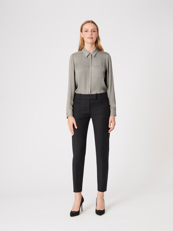 Stretch-charmeuse shirt - Cendre