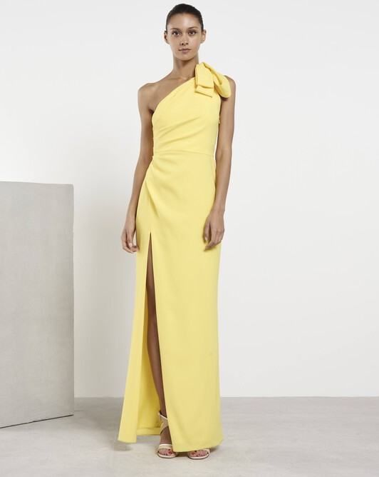 Robe en crêpe envers satin - Citron