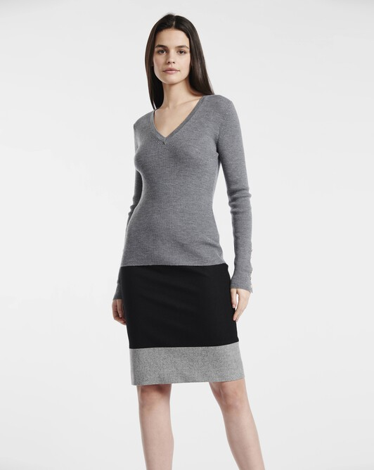 Jupe en drap de laine - Noir / souris