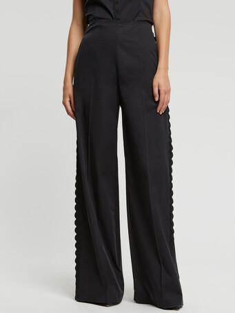 Wide-leg satin-poplin pants - Noir