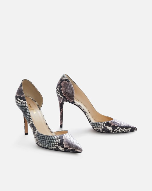 Python-print leather pumps - Tricolore