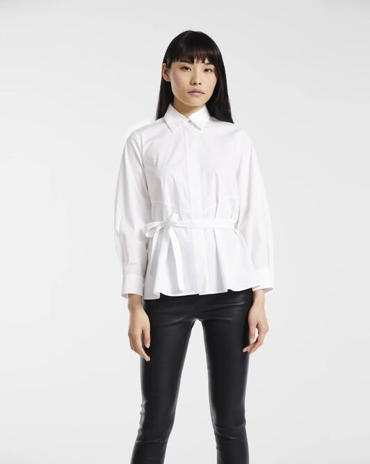 Shirt in stretch-cotton poplin - White