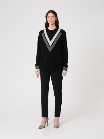 Wool sweater - Noir / blanc casse