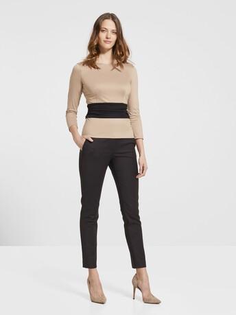 Haut en jersey de coton - Beige / noir