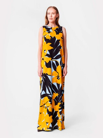 Print crepe gown - Curcuma / noir