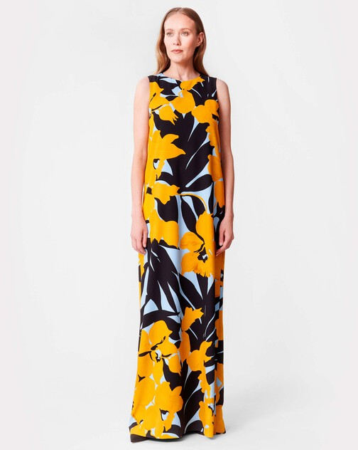Print crepe gown