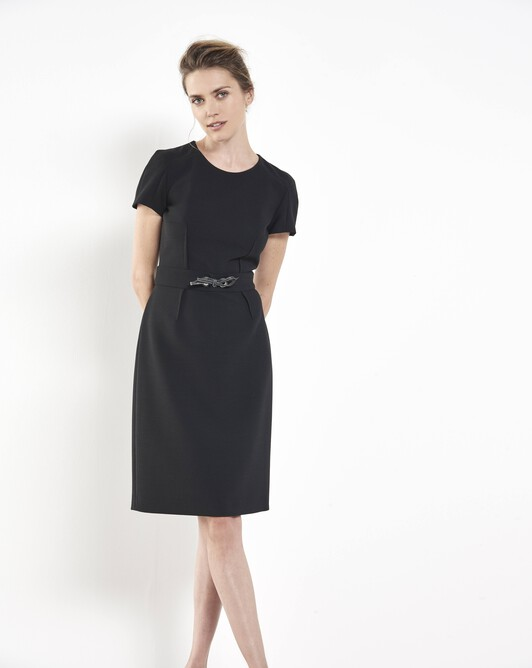 Stretch tricotine dress - Noir