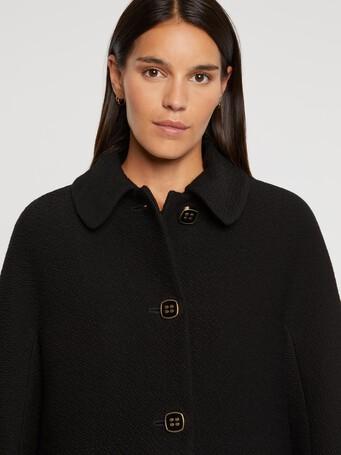 Manteau à col Claudine en laine reliéfée - Noir
