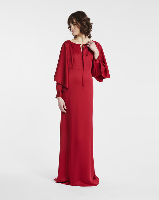 Hammered satin gown - Cranberry