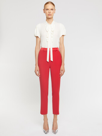 Satin-back crepe pants - Ruby