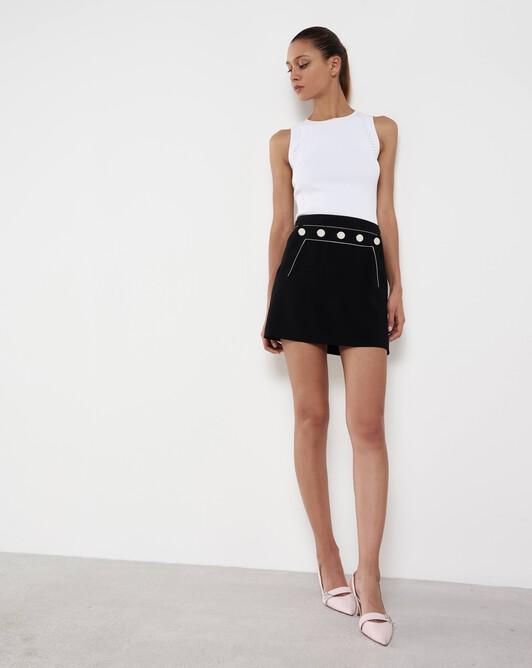 Short satin-back crepe skirt - Noir