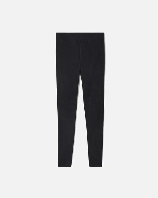 Lambskin suede slim-leg pants - Navy blue