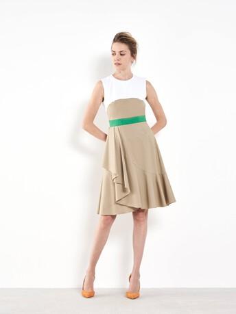 Robe courte en coton stretch - Beige / blanc