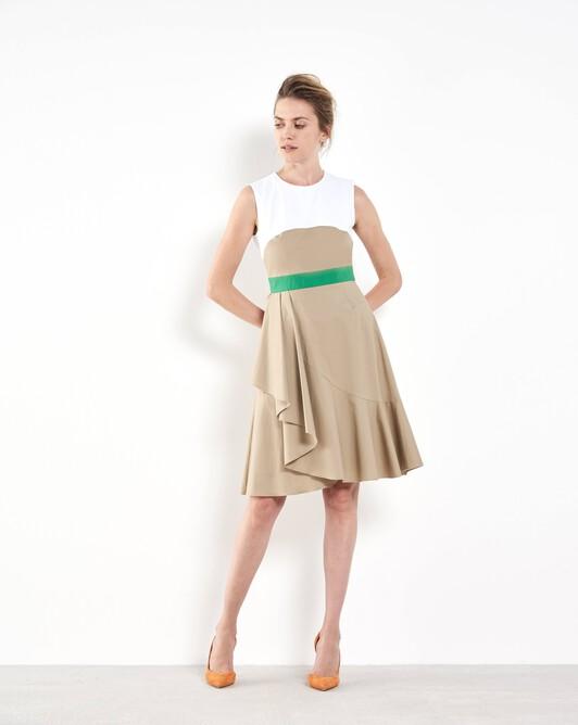 Short stretch-cotton dress - Beige / blanc