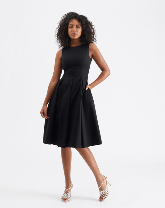 Cotton-poplin dress - Noir