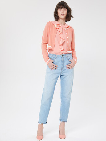Wool and cashmere cardigan - Eau de rose / blanc casse