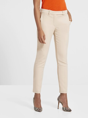 Pantalon en tricotine de coton stretch - Biscuit