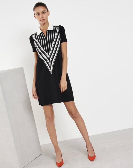 Short viscose dress - Noir / blanc casse