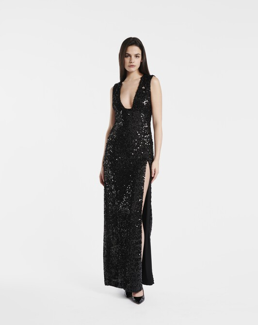 Sequinned lurex gown - Noir