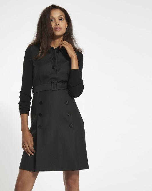 Wool drill dress - black