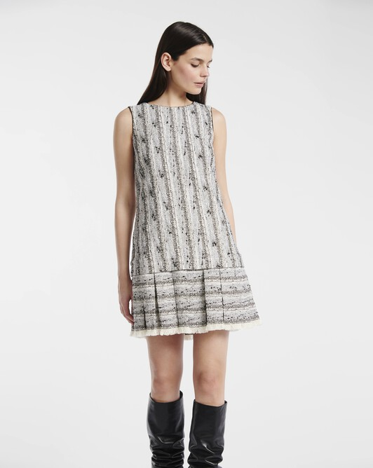 Dress in fine black-and-white tweed - Black / white