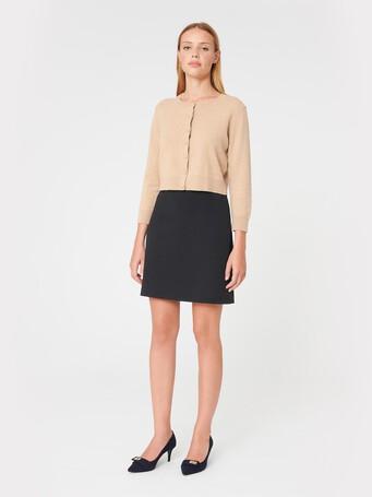 Two-tone serge skirt - Marine / caramel