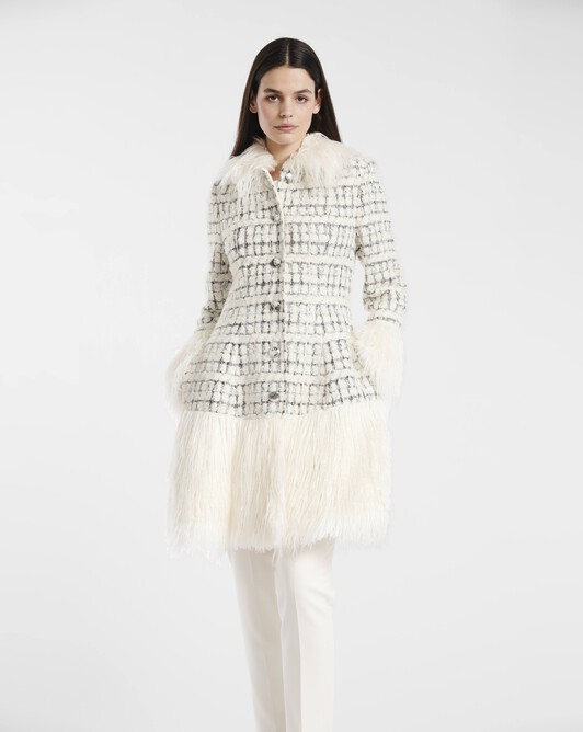 Silver and boucle tweed coat - Naturel / argent