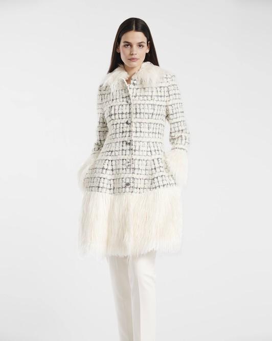 Manteau en tweed bouclette et argent - Naturel / argent