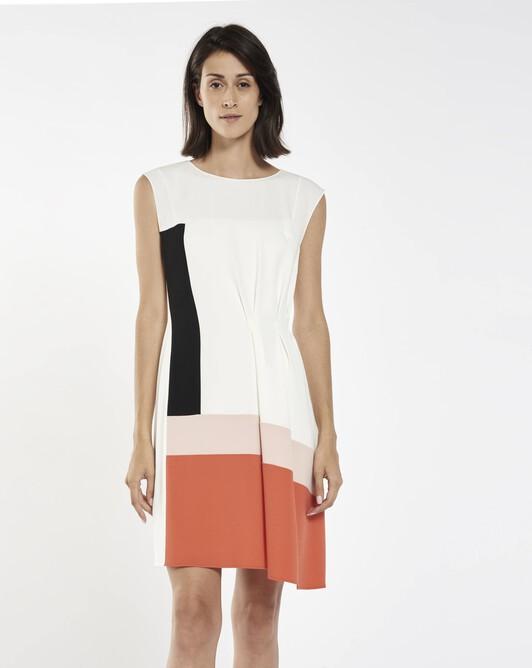Satin-back crepe dress - Blanc / pasteque
