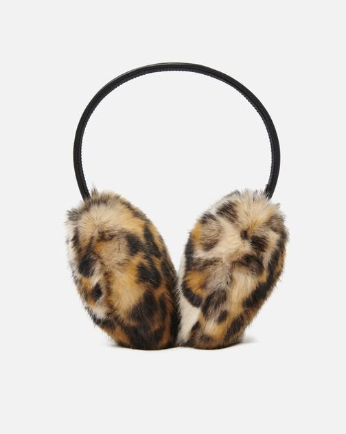 Leopard-print faux fur earmuffs