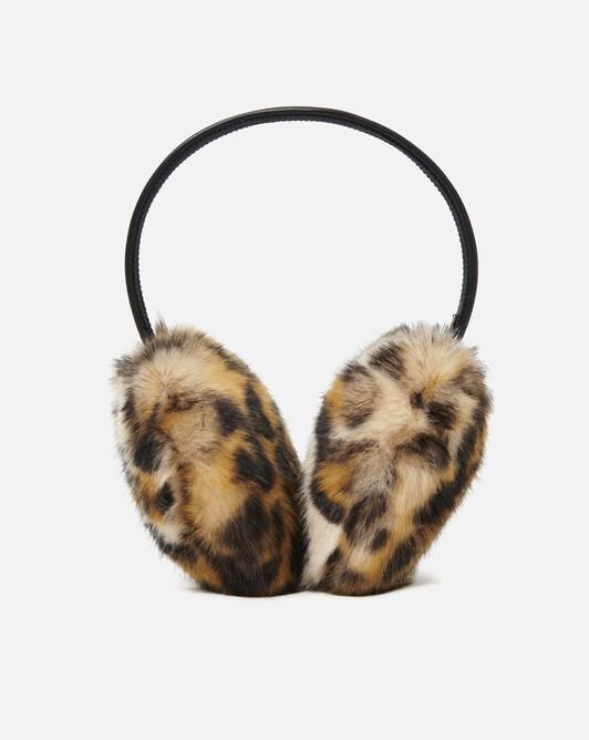 Leopard-print faux fur earmuffs - Beige / noir