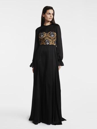Robe en jacquard baroque - Noir
