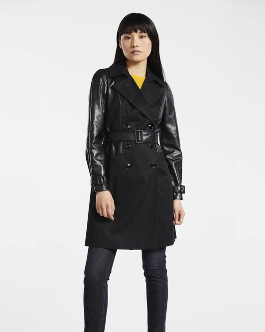 Manteau en gabardine de coton stretch - noir