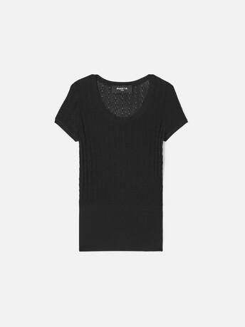 Lace cotton viscose sweater - Noir
