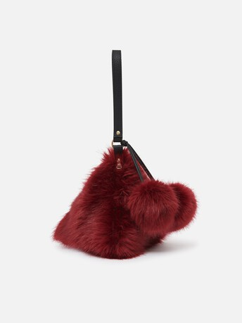 Mini sac porte clé en renard coloré - Pourpre