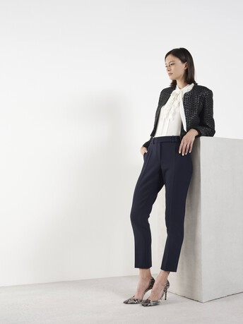 Stretch tricotine trousers - Navy blue