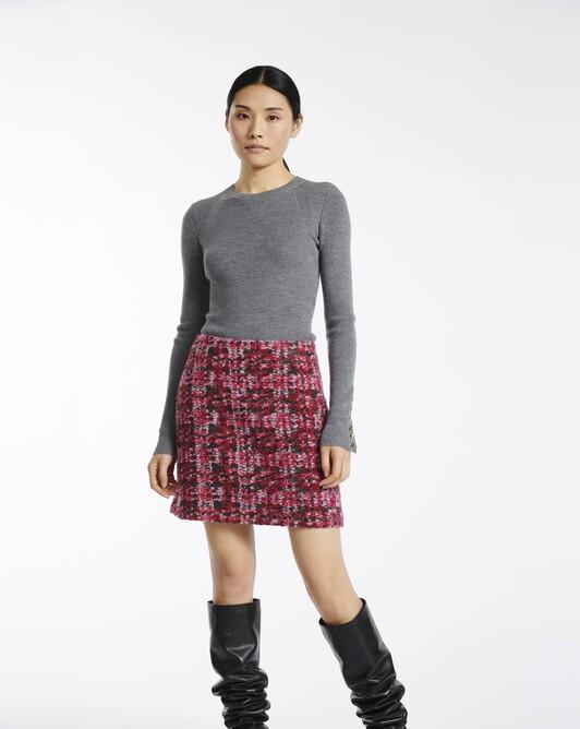 Jupe en tweed carreaux - Rose