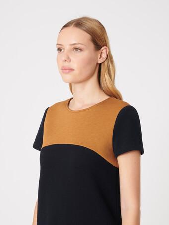 Robe en sergé bicolore - Marine / caramel