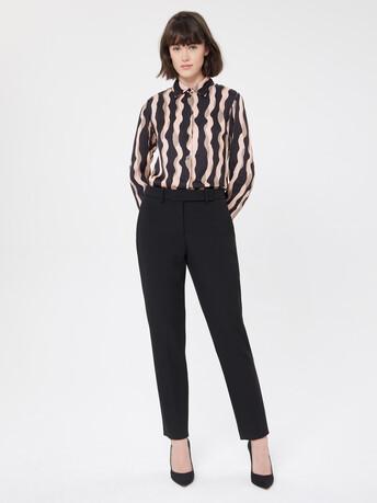 Print satin blouse - Poudre / noir