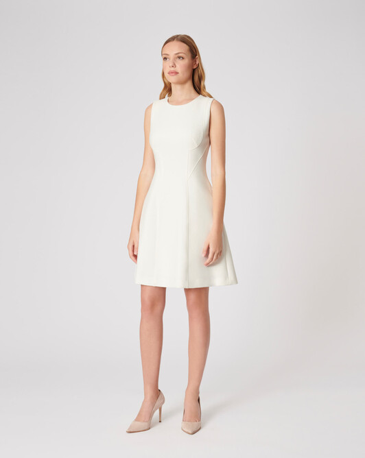 Stretch-tricotine dress - Off white