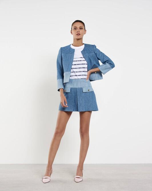 Veste courte en coton à damier - Aqua