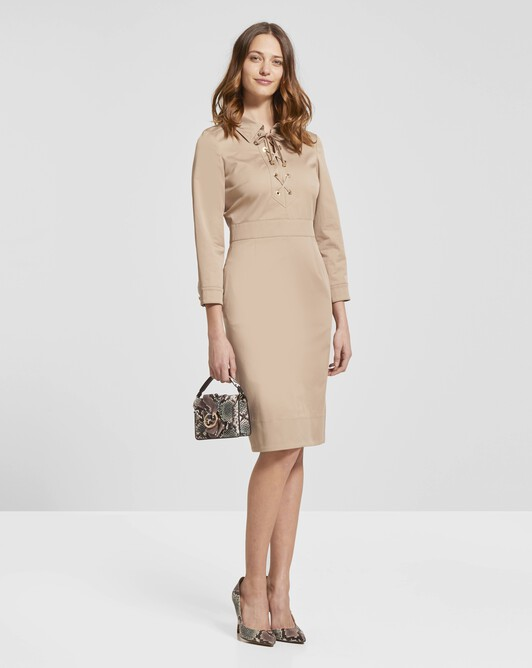 Cotton-gabardine dress - Beige