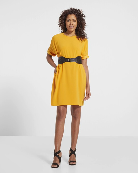 Satin-back crepe dress - Safran