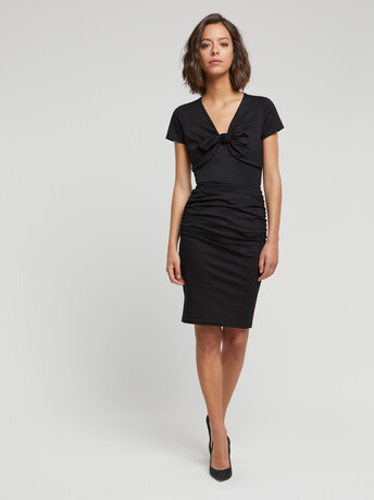 Stretch-cotton jersey skirt - Noir