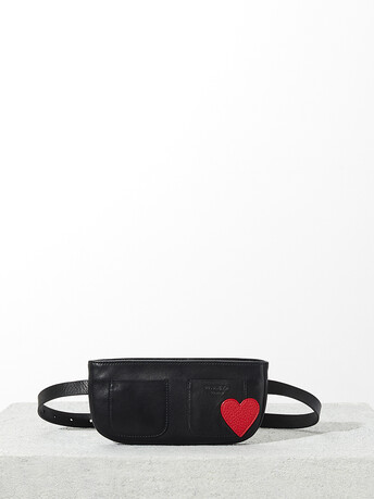 Lambskin leather bag - Noir / rouge